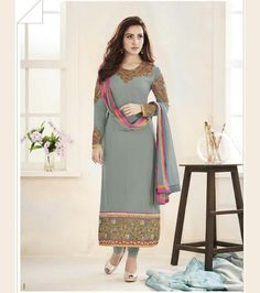 Neha Sharma Gray Faux Georgette Churidar Suit 67384