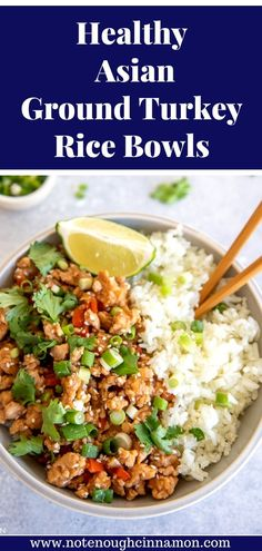 ground turkey tacos This Asian Ground Turkey Rice Bowl recipe is a quick, healthy, and convenient weeknight dinner that comes together in only 20 minutes! You can prep this on the weekend for healthy and delicious lunches throughout the week. Ground Turkey And Quinoa Recipe, Asian Ground Turkey Recipe, Turkey Rice Bowl Recipe, Ground Turkey Meal Prep, Healthy Ground Turkey Dinner, Easy Ground Turkey Recipes, Healthy Meal Prep, Healthy Cooking, Healthy Turkey Recipes