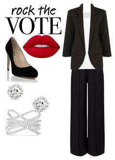 """""""Rock the vote"""" by johannaelyce on Polyvore featuring Miss Selfridge, Norma Kamali, Effy Jewelry, Lime Crime and rockthevote"""