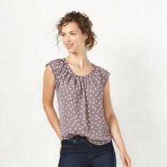 Women's LC Lauren Conrad Pleated Top, Size: XL, Grey