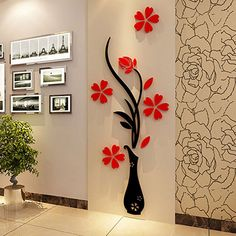 3D Plum Vase Wall Stickers home decor creative wall decals living room entrance painting flowers For Room Home Decor DIY W1