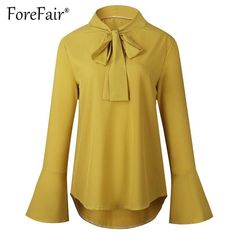 11a7e89062372 Casual Loose Blouse Women Chiffon Shirt Autumn Bow Tie Neck Flare Long  Sleeve Solid Tops