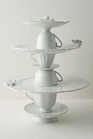 No cake plates? In a hurry - Tea Service cookie stand--elegantly made from stacked porcelain cups and plates Ideias Diy, Deco Table, Cake Plates, Diy Projects To Try, Welding Projects, Tea Party, Repurposed, Tea Cups, Coffee Cups
