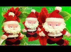 Santa Claus en punto 3D a Crochet ideas decoraciones regalos de Navidad tejido tallermanualperu - YouTube