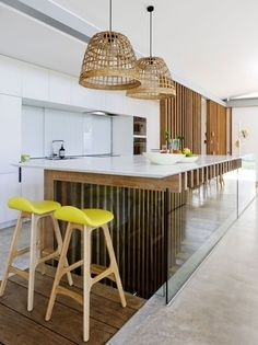 modern open stairway between kitchen and living room - google