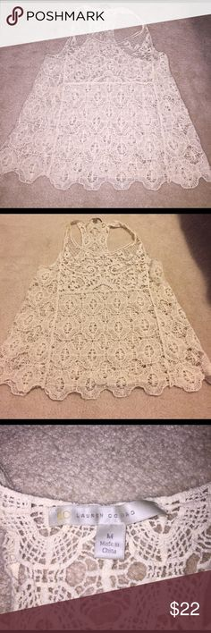Ivory crochet tank top Beautiful crochet lace too. Scalloped bottom. Racerback style. LC Lauren Conrad Tops