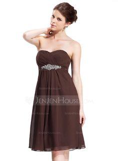 Bridesmaid Dresses - $99.99 - Empire Sweetheart Knee-Length Chiffon Bridesmaid Dress With Ruffle Beading (007026272) http://jenjenhouse.com/Empire-Sweetheart-Knee-Length-Chiffon-Bridesmaid-Dress-With-Ruffle-Beading-007026272-g26272