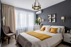 Choosing the right metal tones for the home is always a popular design debate. Do you go with brass hardware? Or perhaps oiled bronze is best. Focusing on metallic touches can have a big effect. Home Living Room, Brown Couch Living Room, Bedroom Makeover, Beautiful Bedroom Colors, Apartment Living Room, Modern Bedroom Interior, Apartment Decor, Bedroom Bedding Sets, Interior Design Bedroom