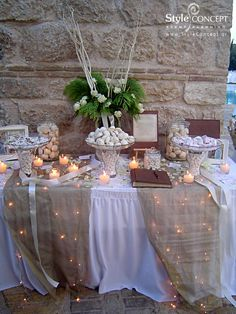 & ivory for this dessert table with sugar almonds and traditional Greek sweets. The tealights make it sparkle!Gold & ivory for this dessert table with sugar almonds and traditional Greek sweets. The tealights make it sparkle! Wedding Centerpieces, Wedding Table, Rustic Wedding, Our Wedding, Wedding Decorations, Bridal Shower Rustic, Dessert Table, Greek Sweets, 50th Wedding Anniversary Party Ideas