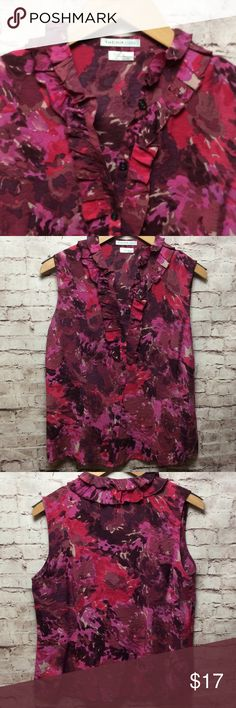 Pink & Plum Sleeveless Top by VanHeusen Studio Pink & Plum Sleeveless Top by VanHeusen Studio - 80% rayon, 20% nylon - button down front - ruffled neckline - multi-pink/plum colored - excellent condition! VanHeusen Studio Tops Button Down Shirts