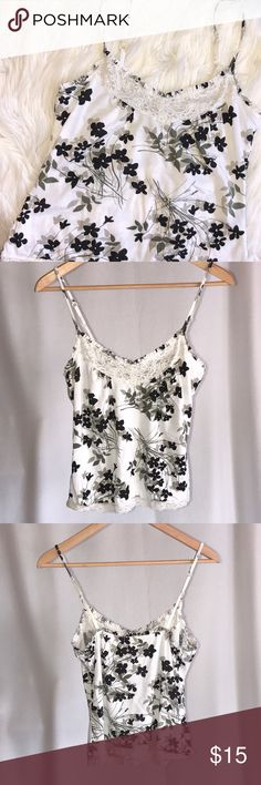 """Ivory & Black Floral Soft Stretch Lace Trim  Cami Soft Cami with adjustable straps.  Lace trim on front and around bottom hem.  Ivory with black & gray Floral pattern.  Elastic edge at top.  Size Small.  Pit to pit laying flat 14.75"""", length approx 18-20"""".    93% tencel/7% spandex.   In excellent condition. J. Crew Factory Tops Camisoles"""