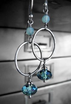 Aqua Crystal Hoop Earrings Hammered Charcoal Oxidized by ShySiren