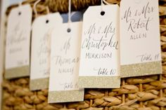 Glitter Escort Tags with Custom Calligraphy for Wedding Event Party or Shower with Name and Table Number