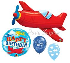 Airplane Birthday Balloon Package Vintage Style Plane Happy Birthday Clouds Red Airplane Jumbo Mylar Balloon Package