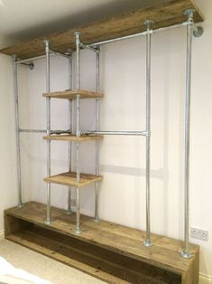 20 Industrial Pipe Closet Designs You Can Make Yourself Pallet Furniture For Sale, Reclaimed Furniture, Vintage Industrial Furniture, Pipe Furniture, Reclaimed Timber, Furniture Stores, Bedroom Furniture, Furniture Ideas, Inexpensive Furniture