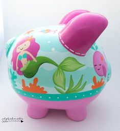 Mermaid Ocean Personalized Piggy bank in Hot Pink and Turquoise Hand Painted Ceramics, Porcelain Ceramics, The Little Couple, Personalized Piggy Bank, The Little Mermaid, Baby Shower Gifts, Mini, Hot Pink, Just For You