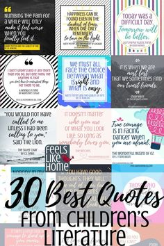 Best inspirational quotes from kids books and children's literature - These famous and not so famous truths are from Roald Dahl, Harry Potter, and many more. Awesome life lessons for the heart. Quotes From Childrens Books, Children Book Quotes, Best Children Books, Reading Quotes Kids, Childrens Book Quotes Printables, Best Quotes For Children, Famous Book Quotes, Famous Books, Greatest Quotes