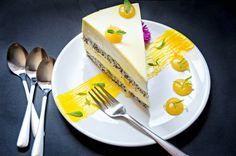 Mango and Lemon Entremet Recipe - used lemon curd and mousse part French Desserts, Mini Desserts, Delicious Desserts, Dessert Recipes, Mango Recipes, Sweet Recipes, Entremet Recipe, British Baking, Beautiful Desserts