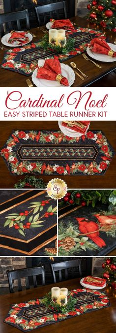 "The Easy Striped Table Runner highlights the beautiful border stripe fabrics in the Cardinal Noel collection which features realistically detailed illustrations, creating an elegant centerpiece in your dining room this Christmas! Turn it over for another elegant look – it's reversible!   This table runner measures approximately 16"" x 45""."
