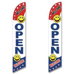 Windless Swooper Flag 2 Pack OPEN WELCOME Red/White/Blue/Smileys #EHTFlags