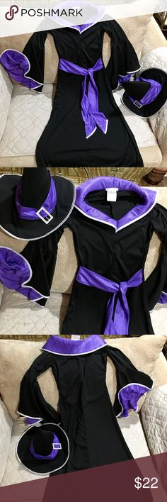 "California Costume Black/Purple Witch costume. Excellent condition. 100% Polyester. SZ large but runs small. Length 46"". Armpit to armpit 17"". Sleeve 20"". Comes with witch hat. Nice material. Buy Now in time for Halloween california costumes Other"