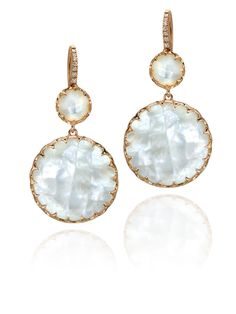 Ivanka Trump 18k Rose Gold Mother of Pearl Rosecut Diamond Drop Earrings - Ivanka Trump earrings, prec. accent 18kr d=.06tw mop fw rsct drop earring