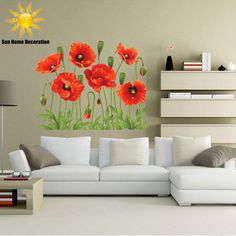 RED POPPY Removable Wall sticker