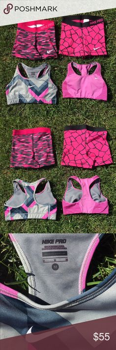 Brand new Nike Pro Bundle The Nike Pro women's training shorts and bra are designed with stretchy dri-FIT fabric that helps keep your dry and comfortable. Gently worn. Pink/grey bra is a size Medium. Pink striped bra is a size Small. Shorts are small and medium Nike Shorts