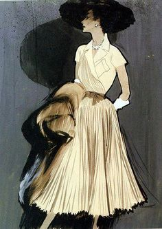 Rene Gruau | 1909 | Italy Gruau's bold and graphic illustrations pioneered his style of vibrancy within his illustrations. His linework clearly shows the movement within the garment, yet is not overwhelming to the overall effect of the illustration. His dark backgrounds create a sense of melancholy.