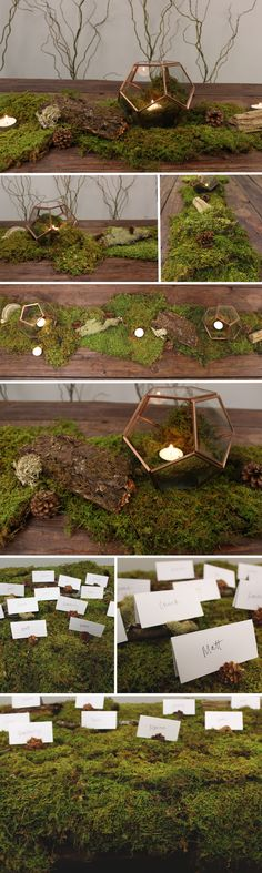 Super easy DIY table runner using Sheet Moss, Curly Willow Branches, some assorted forest accessories, and terrariums with tea lights! - FiftyFlowers.com