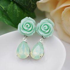 Flower w/ Swarovski Crystals Earrings