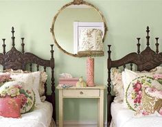NOT the chintz - but I love the mirror in between above the nightstand
