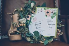 Green and Pink Floral Wedding Invitations