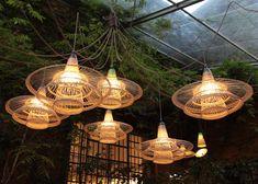 Woven plastic bottle Pet lamps by Alvaro Catalan de Ocon, Spazio Rossana Orlandi, Milan design week.