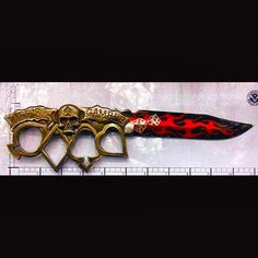 #TSAGoodCatch - This skull adorned and flame emblazoned knuckle knife was discovered this week in a carry-on bag at Salt Lake City (SLC). All knives are prohibited in carry-on bags. by tsa