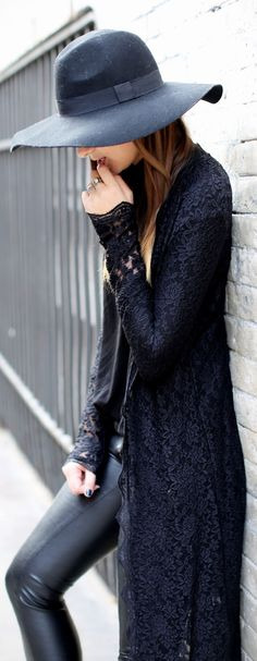 Lace + leather.
