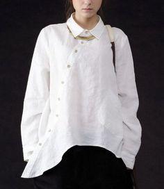 41e16874cbb 2019 Plus Size Women Vintage Clothing Pockets Casual Ladies Long Shirts  White Linen Shirt Womens Irregular Cotton Linen Big Shirts From Jiangyongttt