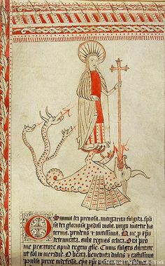 How to Kill Your Dragon, demonstrated by Saint Margaret in an English prayer roll. @MorganLibrary MS G.39, f. 18r.