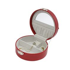 Red Leatherette Jewelry Box features mirror on the inside lid, multi compartments, scratch-resistant velour-lined, locking clasp Jewellery Boxes, Jewellery Storage, Jewelry Box, Fine Jewelry, Locks, Slot, Mirror, Rings, Red