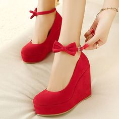 Red Ankle Strap Wedge Shoes with Bow