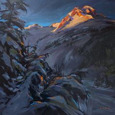 'First Light on Joffre'  Acrylic on Canvas   Artist Charlie Easton