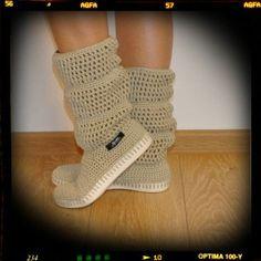 Botas - Crochet las botas de verano de algodón 100% - hecho a mano por uki-boots en DaWanda
