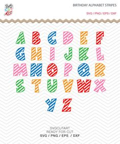 Birthday Alphabet Stripes Lines Letters SVG PNG DXF eps, striped School kid Font, Vinyl Decal Cut File Cricut Design Silhouette studio by SvgCutArt on Etsy