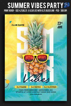 Summer Vibes Party Flyer — Photoshop PSD #exotic #holiday