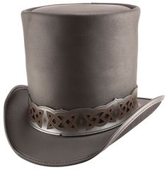 Steampunk Hat Victorian Classic Leather Standard HIGH Top Hat with Dragon Skin Band