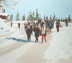 """Agnieszka Gąsiorowska-Żaba, Szklarska Poręba – """"Zakręt śmierci"""", 80x70 cm, tempera jajowa na płótnie, 2013 r."""