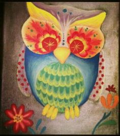 Colorful sugar skull inspired owl, acrylic paints