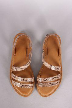 Bamboo Python Strappy Asymmetrical Flat Sandal