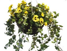Handmade artificial pansy  hanging basket available in various colors. This hanging basket is handmade and therefore can be customized to your taste