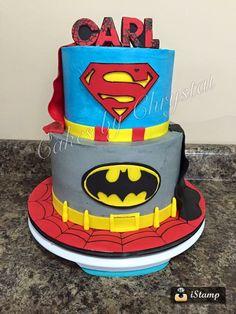 super hero cake superman batman spiderman capes